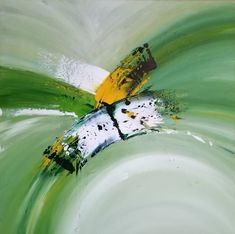 """Saatchi Art is pleased to offer the painting, """"Vivo,"""" by Laura B, available for purchase at $520 USD. Original Painting: Acrylic on Canvas. Size is 27.6 H x 27.6 W x 0.8 in. #greenabstract #contemporarypainting #spring #viva #curves #angle #white #modernartwork #lime #lightgreen #boldpainting #handmade Modern Artwork, Contemporary Paintings, Acrylic Colors, Acrylic Art, Abstract Expressionism, Abstract Art, Original Art, Original Paintings, Canvas Art"""