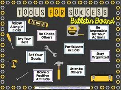 "This is a bulletin board set that allows you to showcase the ""Tools for Success"" necessary for your classroom. It's a great back to school bulletin board because it can focus on positive habits and critical classroom expectations. Two different colored titles are included so that you can choose which fits your board best."