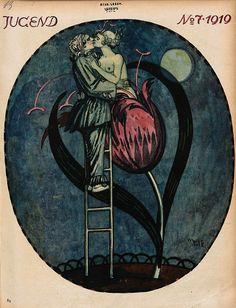 Jugend, German illustrated weekly magazine for art and life, Volume Art And Illustration, Vintage Artwork, Vintage Posters, Cover Art, Jugendstil Design, Kunst Poster, Magazine Art, Magazine Covers, Surreal Art