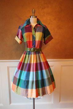 1960s Dress Vintage 50s 60s Dress Colorful Cotton by jumblelaya