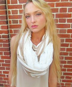 Infinity tan Striped Lace on ivory scarf by JLeeJewels on Etsy, $18.00