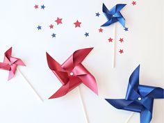 """No child—or adult for that matter—can resist the charm of a red or blue pinwheel on a warm summer evening. """"Meet the Maker"""": Celebration Shoppe – 4th of July -  