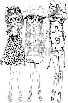 Drei Schwestern - My favorite children's fashion list Illustration Mignonne, Illustration Mode, Fashion Illustration Sketches, Colouring Pages, Coloring Books, Art Fantaisiste, Sketch Inspiration, Whimsical Art, Cute Cartoon