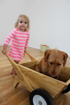 Kid's Wooden Wheelbarrow can be used indoors our out.  From www.bellalunatoys.com