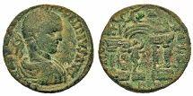Phoenicia, Berytus. Elagabalus. Æ 25 mm. Marsyas Within Temple.