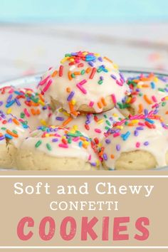 Soft Chewy Confetti Cookies are light, tasty, and melt in your mouth. Covered with sweet icing, they are absolutely irresistible! #funfetticookies #icedcookies Vanilla Icing, Vanilla Cookies, Iced Cookies, Fun Cookies, Fun Desserts, Dessert Recipes, Party Recipes, Confetti Cookies, Best Food Ever