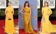 Top 10 Globo de Ouro 2016 - Mostarda - America Ferrera, Lola Kirke e Jennifer Lopez (Foto: AFP)