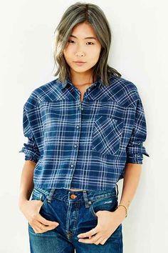BDG Astrid Dolman-Sleeve Flannel Button-Down Shirt