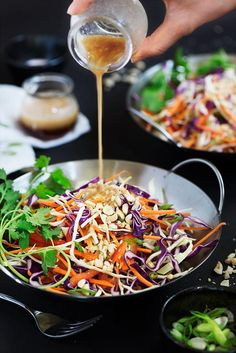 Asian Slaw with Peanut Ginger Dressing -Amazingly delicious fusion of Western & Asian flavors. The dressing is the hero. Sweet, savory & a lil tang w/ peanut butter & ginger umami.