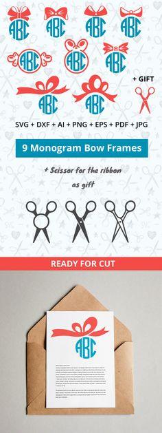 Bow Monogram Frame SVG Bows Frames Cutable Files Silhouette Studio Cricut Vinyl Cutter Heat Press Transfer