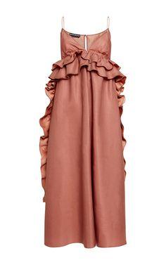 Rochas pink silk gazar gown with ruffle details