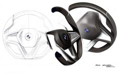BMW Vision Future Luxury Concept - Steering Wheel design sketches