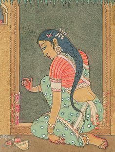 Art & Photos - Woman Creates Kolam on Door Frame Modern Indian Art, Indian Folk Art, Pichwai Paintings, Indian Art Paintings, Madhubani Art, Madhubani Painting, Kauai, Saree Painting Designs, Lord Ganesha Paintings
