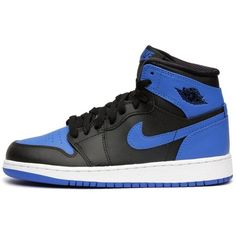 Jordan Kids 1 Retro High Og Gradeschool Black Blue 575441-080 7y ($800) ❤ liked on Polyvore featuring shoes and sneakers