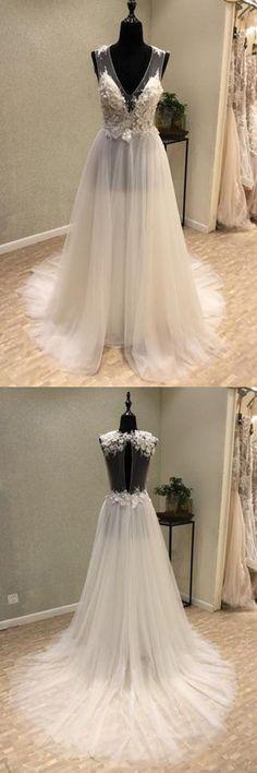 Open Back Wedding Dresses #OpenBackWeddingDresses, 2018 Wedding Dresses #2018WeddingDresses, Ivory Wedding Dresses #IvoryWeddingDresses, Wedding Dresses Cheap #WeddingDressesCheap