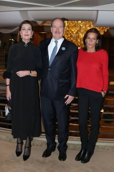Prince Albert ll of Monaco, Princess Carolineand Princess Stéphanieposed together at a celebration of what would have been their mother's 88th birthday