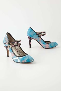 Painted Ikat Mary-Janes. Banish the winter blues with Miss Albright's silky, colour-drenched pumps. #shoes