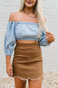 Camel Frayed Scalloped Skirt