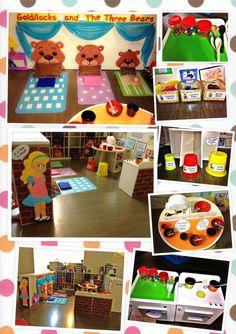 Goldilocks and The three bears Carved styro Bears Preschool, Nursery Rhymes Preschool, Preschool Themes, Preschool Education, Kindergarten Activities, Book Activities, Traditional Tales, Traditional Stories, Fairy Tale Theme