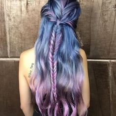 19 Fishtail Hairstyles for that hip look  Hairstyle Monkey Violet Hair Colors, Hair Color Purple, Cool Hair Color, Purple Streaks, Pastel Colours, Hair Colours, Blue Hair, Unicorn Hair Color, Purple Ombre
