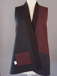 Long Contemporary Kimono Style Vest in Brown /Black - Juanita Girardin