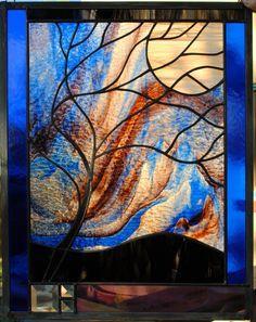 Stained Glass Window Panel Moonlit tree Blue Purple Granite Swirl Mix