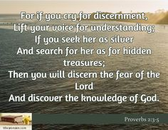 For if you cry for discernment, Lift your voice for understanding; If you seek her as silver And search for her as for hidden treasures; Then you will discern the fear of the Lord And discover the knowledge of God. / Proverbs 2:3-5