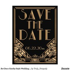 Great gatsby background powerpoint google search p a r t art deco gatsby style wedding save the date card toneelgroepblik Gallery