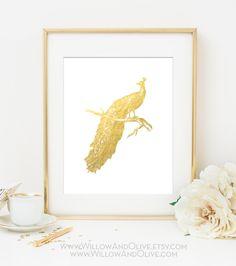 PEACOCK - LEFT FACE Faux Gold Foil Art Print