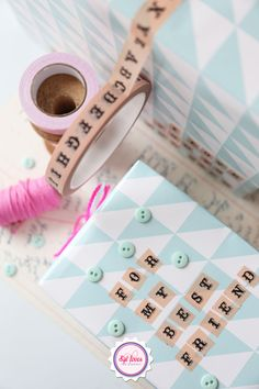 DIY, wrapping, paper, washi tape, masking tape, mint, pink, Syl loves, we love living magazine