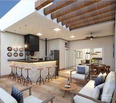 Rooftop Design, Terrace Design, Cabin Design, House Design, Indoor Outdoor Kitchen, Modern Patio, Home Decor Kitchen, Interior Design Living Room, Home And Living