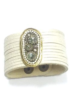 """Cuff leather bracelet with double snap closure. Rhinestones are on the leather band, white leather band.    Measures:7.5"""" to 9"""" L   White Leather Cuff by Leatherock. Accessories - Jewelry - Bracelets Houston, Texas"""