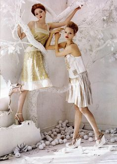 """Gemma Ward and Lily Cole in """"The Handmade's Tale"""" for Vogue Australia February 2006 photographed by Tim Walker"""