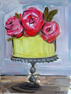 Cake Painting Roses Lemon by DevinePaintings on Etsy,cake, art, citrus, pink, coral