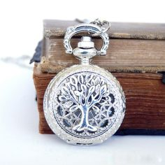 Tree of Life Pocket Watch Locket Necklace  Silver by 8eleven, $28.00