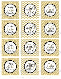 Printable 50th Birthday Cupcake Toppers Sticker Labels Party