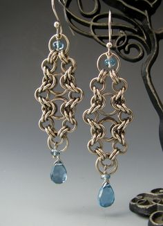 Bike Chain Chainmaille Earrings with London Blue Topaz.
