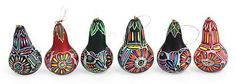 Mate Gourd Christmas Ornaments (Set of 6) - Neon Party | NOVICA
