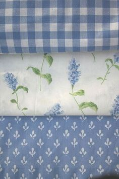 Vintage Laura Ashley Fabrics: Gingham, Summertime, and Trefoil. Used to have the flower one as bedroom curtains! Laura Ashley Fabric, Laura Ashley Home, Laura Ashley Vintage Bedding, Love Blue, Blue And White, Linens And Lace, Blue Gingham, Fabulous Fabrics, Fabric Wallpaper