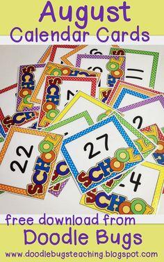 Beginning of school calendar cards Teaching Calendar, Preschool Calendar, Classroom Calendar, Kindergarten Calendar, August Calendar, Calendar Time, Kids Calendar, Calendar Ideas, Preschool First Day