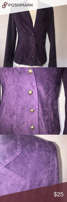 """Cato Royal Purple Suede Blazer Size 6 This Vintage Blazer is a very classy piece! 💜 MEASUREMENTS- Size 6, Length 24"""", Bust 17"""", Sleeve 24"""" Cato Jackets & Coats Blazers"""