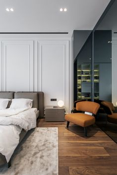 What about the interior design styles used here?The architectural and interior design studio YODEZEEN masterfully employs a tasteful palette, designed furniture and stunning contemporary artworks to compose a bespoke high-end design. Bedroom Closet Design, Bedroom Decor, Black Interior Doors, Interior Design Magazine, Contemporary Interior Design, Neoclassical Interior Design, Apartment Interior Design, Design Interior, 3d Models