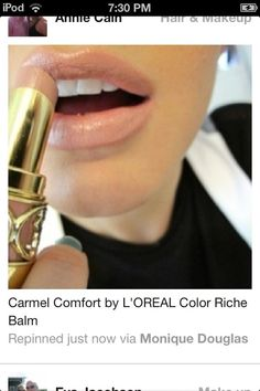 The perfect nude color- this is either YSL Sweet Honey or drug store dupe Carmel Comfort by L'OREAL Color Riche BALM Lipstick I gotta look for this! All Things Beauty, Beauty Make Up, Hair Beauty, Beauty Secrets, Beauty Hacks, Beauty Products, Beauty Guide, Beauty Trends, Beauty Ideas