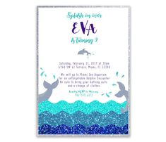 Dolphin Birthday Invitation Ocean Birthday Invitation Under The