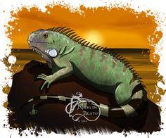 Female Iguana Daily Creature Print by NadilynBeatosArt on Etsy, $10.00