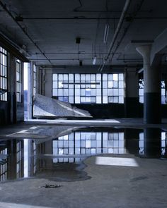 inside the abandoned Crosley factory by Zach Fein. I'd love to build out something like this. Those pillars are great.