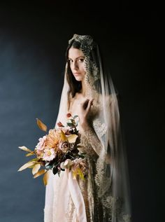Dark and Moody Old-World Feminine Fine Art Bridal Inspiration With Fall Colors and Florals- Once Wed Barn Wedding Photos, Wedding Poses, Wedding Bride, Wedding Pictures, Lace Bride, 1920s Wedding, Lesbian Wedding, Wedding Venue Inspiration, Wedding Ideas