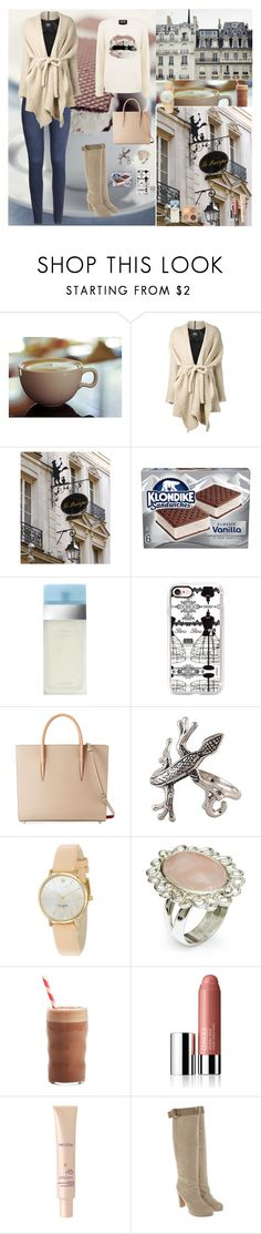 """Elegant White🍥"" by oksana-kolesnyk ❤ liked on Polyvore featuring H&M, Lost & Found, WALL, Zara, Dolce&Gabbana, Casetify, Christian Louboutin, NOVICA, Kate Spade and Mariah Carey"