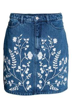Jupe en jean brodée - Bleu denim - FEMME | H&M FR