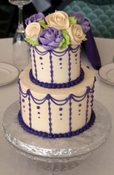 Buttercream 2 tier cake by The White Flower Cake Shoppe